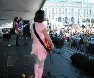 Lipstick Conspiracy at San Francisco Pride, 2004. Shawna, Marilyn and Sarafina. Photo by Shausta.