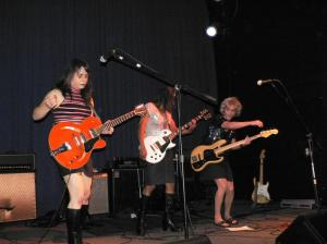 Lipstick Conspiracy at the Uptown, Oakland, CA, 2009.  Sarafina, Shawna and Marilyn.
